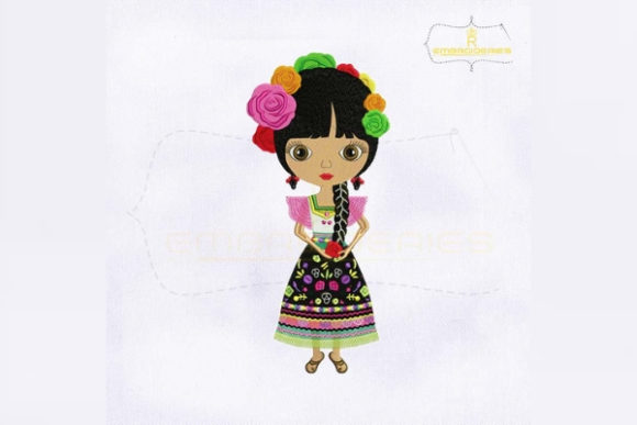 Attractive Mexican Girl Beauty Embroidery Design By RoyalEmbroideries