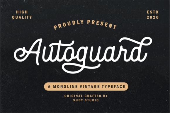 Print on Demand: Autoguard Script & Handwritten Font By Suby Store