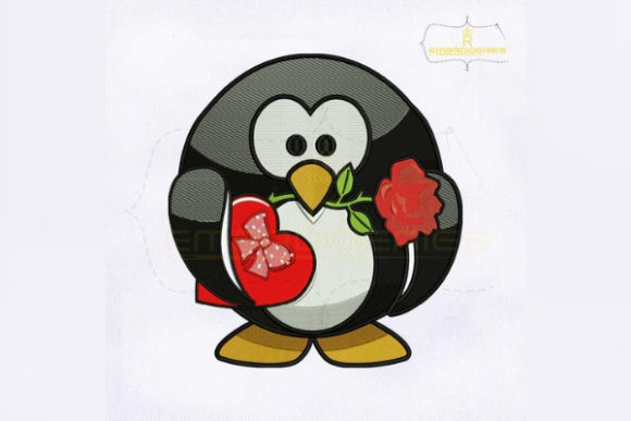 Beautiful Valentine Penguin Valentine's Day Embroidery Design By RoyalEmbroideries