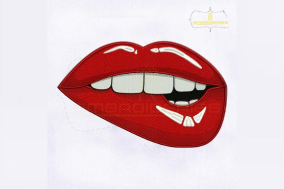 Biting Lips Beauty Embroidery Design By royalembroideries