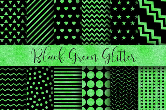 Download Free Black Green Glitter Digital Papers Graphic By Pinkpearly SVG Cut Files