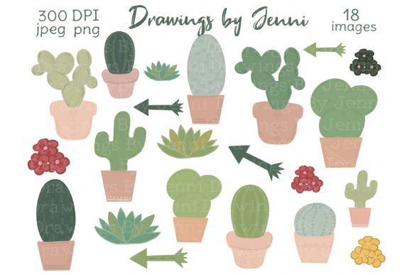 Cactus, Succulents, Desert Greenery Graphic Illustrations By DrawingsbyJenni