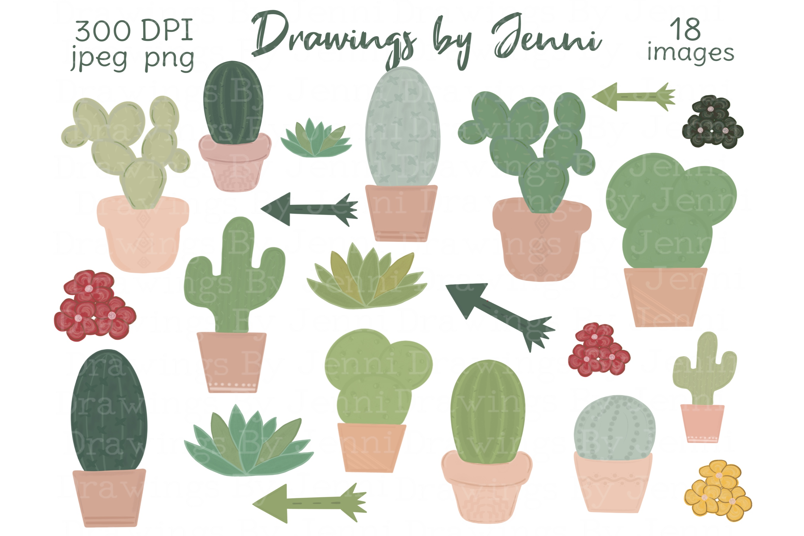 Download Free Cactus Succulents Desert Greenery Graphic By Drawingsbyjenni Creative Fabrica for Cricut Explore, Silhouette and other cutting machines.
