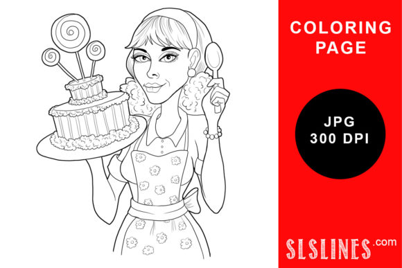 Print on Demand: Cake Baker with Spoon Coloring Page Graphic Coloring Pages & Books Adults By SLS Lines