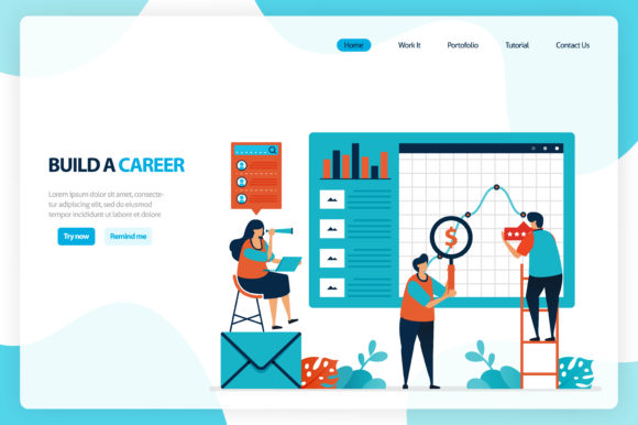 Chart in Achieving Business Goals Graphic Landing Page Templates By setiawanarief111