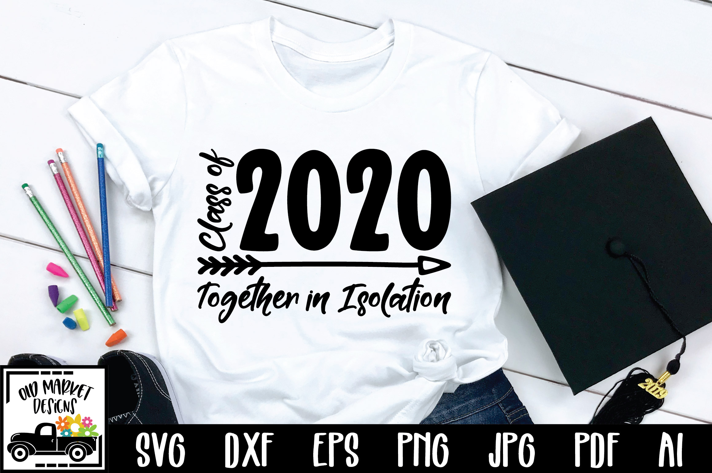 Download Free Class Of 2020 Together In Isolation Graphic By Oldmarketdesigns for Cricut Explore, Silhouette and other cutting machines.