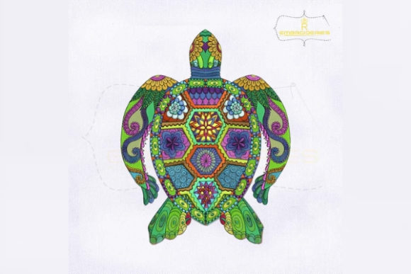 Colorful Turtle Reptiles Embroidery Design By RoyalEmbroideries