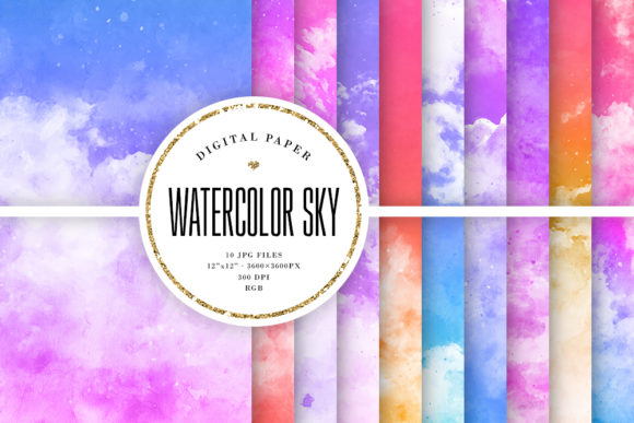Print on Demand: Colorful Watercolor Sky Backgrounds Graphic Backgrounds By Sabina Leja