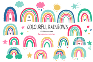 Print on Demand: Colourful Rainbows Clip Art Set Graphic Illustrations By poppymoondesign