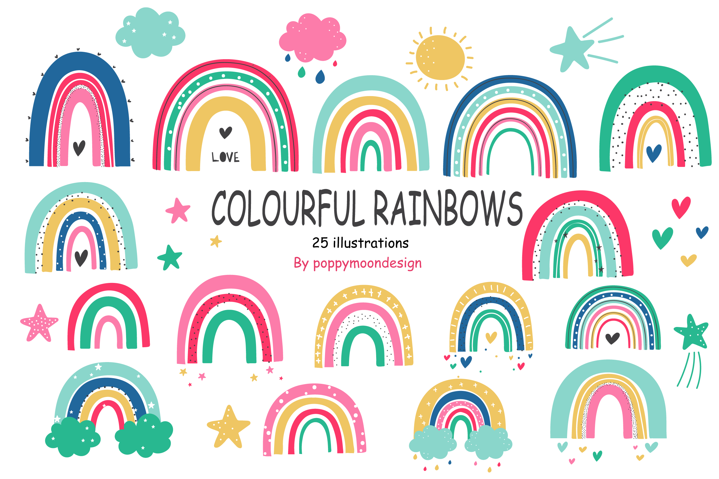 Download Free Colourful Rainbows Clip Art Set Graphic By Poppymoondesign for Cricut Explore, Silhouette and other cutting machines.