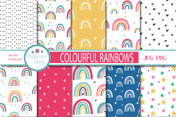 Download Free Colourful Rainbows Paper Graphic By Poppymoondesign Creative SVG Cut Files