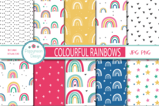 Print on Demand: Colourful Rainbows Paper Graphic Patterns By poppymoondesign