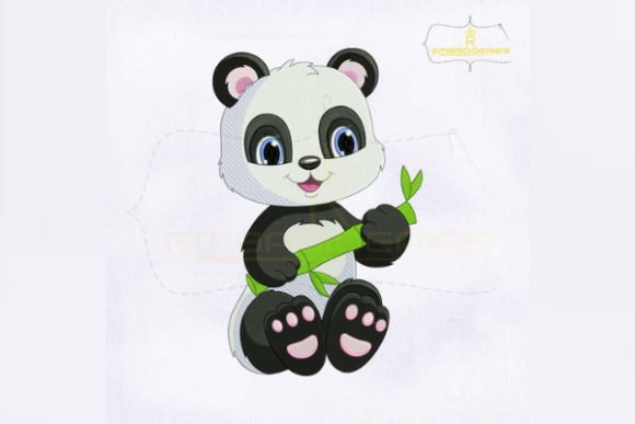 Cute Panda with Bamboo Baby Animals Embroidery Design By royalembroideries