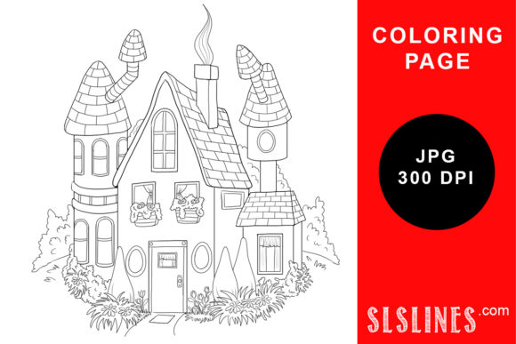 Print on Demand: Cute Whimsical House Coloring Page Graphic Coloring Pages & Books Adults By SLS Lines