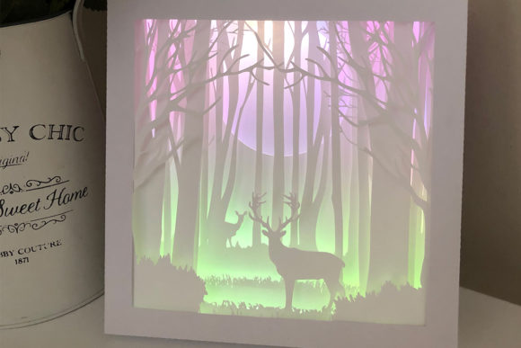 Deer in the Woods 3D Paper Cut Light Box Graphic 3D Shadow Box By Jumbleink Digital Downloads - Image 1