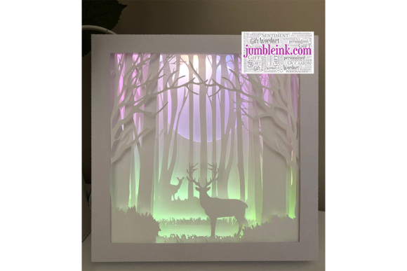 Deer in the Woods 3D Paper Cut Light Box Graphic 3D Shadow Box By Jumbleink Digital Downloads - Image 2