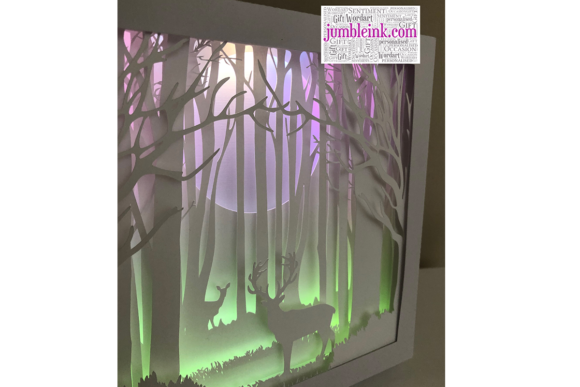 Deer in the Woods 3D Paper Cut Light Box Graphic 3D Shadow Box By Jumbleink Digital Downloads - Image 3