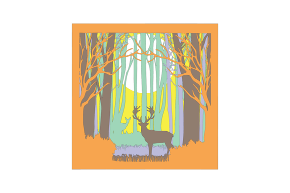 Deer in the Woods 3D Paper Cut Light Box Graphic 3D Shadow Box By Jumbleink Digital Downloads - Image 5