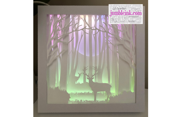 Deer in the Woods 3D Paper Cut Light Box Graphic 3D Shadow Box By Jumbleink Digital Downloads - Image 6