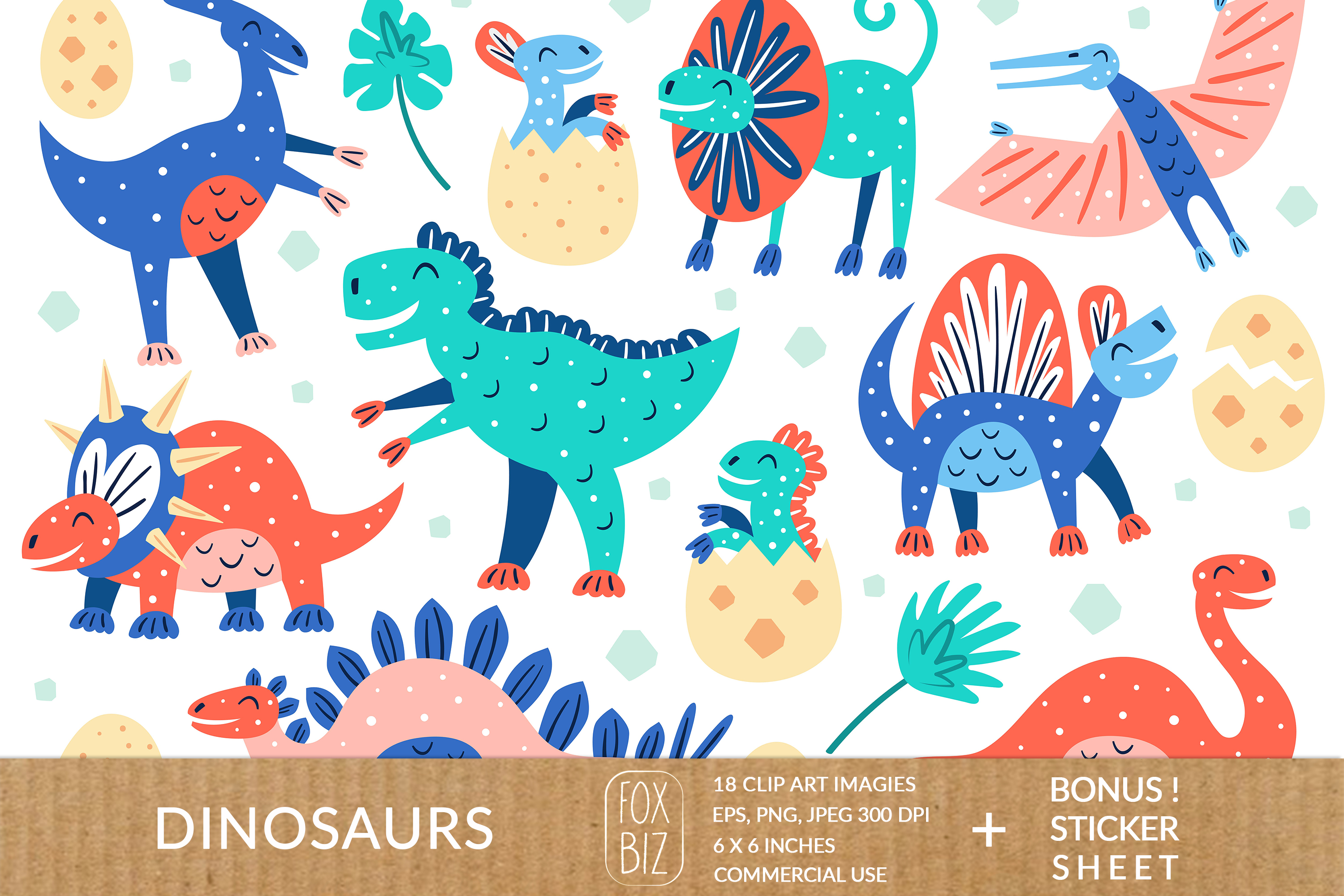 Download Free Dinosaur Clipart Graphic By Foxbiz Creative Fabrica for Cricut Explore, Silhouette and other cutting machines.