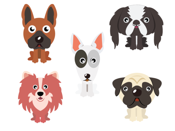 Download Free Dog Flat Design Bundle 5 Vector Icon Set Graphic By for Cricut Explore, Silhouette and other cutting machines.