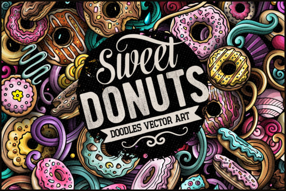 Donuts Vector Doodle Illustration Graphic Illustrations By BalabOlka