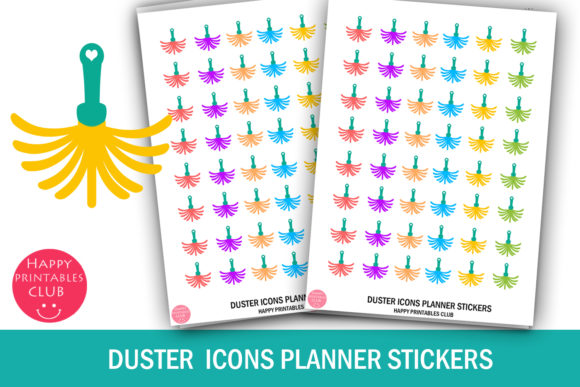 Download Free Duster Icons Planner Stickers Dusting Graphic By Happy for Cricut Explore, Silhouette and other cutting machines.