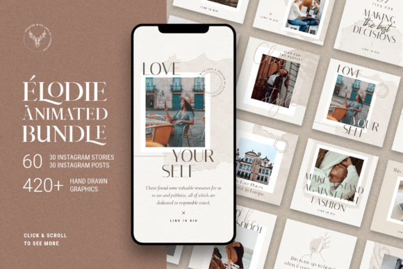 Print on Demand: Elodie - 60 Animated Posts & Stories Graphic Websites By SilverStag