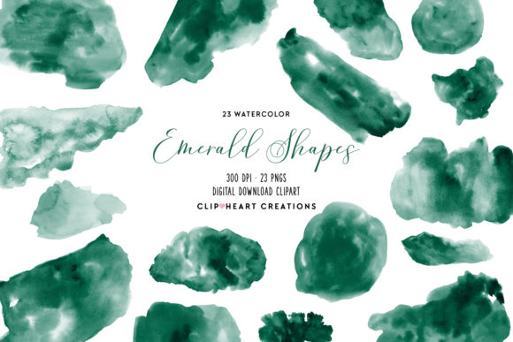 Emerald Watercolor Shapes Graphic Illustrations By clipheartcreations