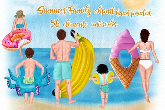 Download Free Family Clipart Summer Clipart Graphic By Lecoqdesign Creative for Cricut Explore, Silhouette and other cutting machines.