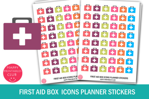 Download Free First Aid Box Icons Planner Stickers Graphic By Happy Printables for Cricut Explore, Silhouette and other cutting machines.