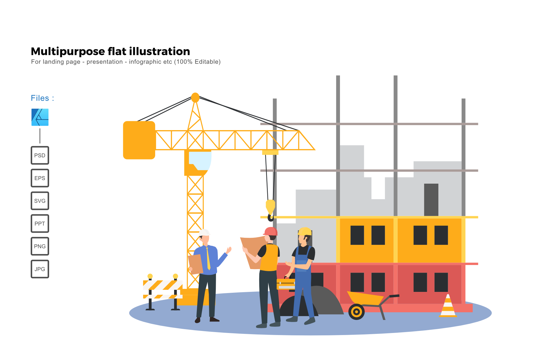 Download Free Flat Illustration Construction 2 Graphic By Rivatxfz Creative for Cricut Explore, Silhouette and other cutting machines.