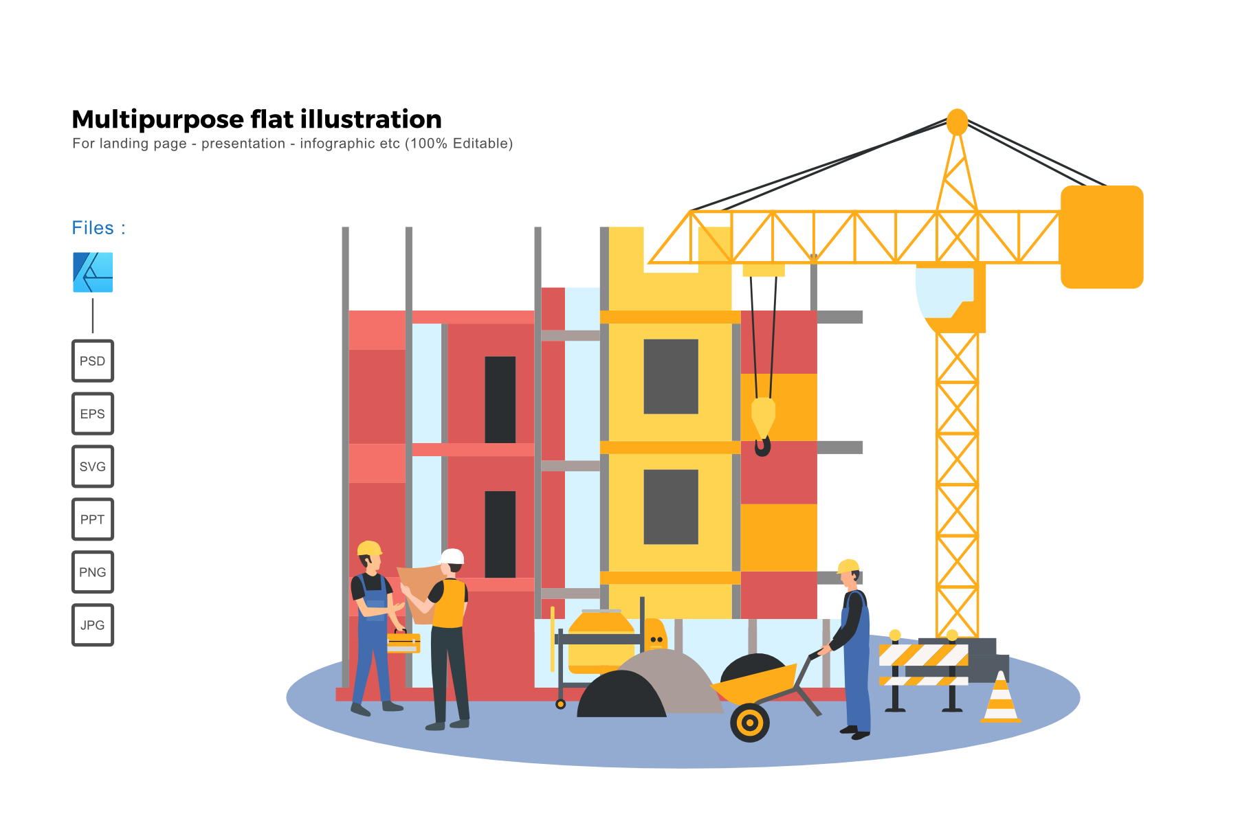 Download Free Flat Illustration Construction 3 Graphic By Rivatxfz Creative SVG Cut Files