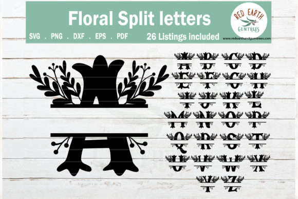 Download Free Floral Split Monogram Frame Letters Graphic By Redearth And for Cricut Explore, Silhouette and other cutting machines.