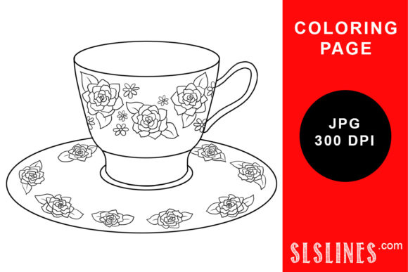 Print on Demand: Flower Teapcup and Saucer Coloring Graphic Coloring Pages & Books Adults By SLS Lines