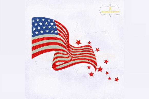 Fourth of July American Flag Independence Day Embroidery Design By RoyalEmbroideries