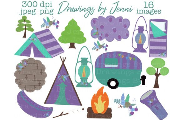 Girl Camping Glamping Clipart, Purple Graphic Illustrations By DrawingsbyJenni