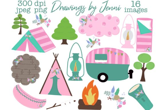 Girls Camping, Glamping, Pink Clipart Graphic Illustrations By DrawingsbyJenni