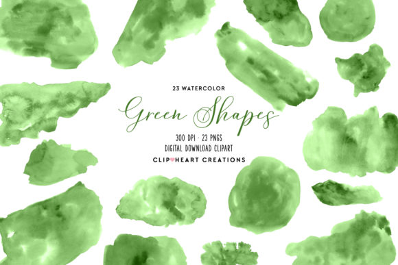 Green Watercolor Shapes Graphic Illustrations By clipheartcreations