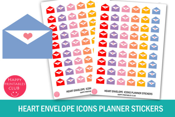 Print on Demand: Heart Envelope Icons Planner Stickers Graphic Crafts By Happy Printables Club