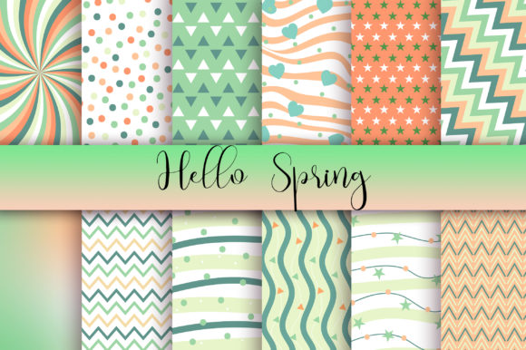 Hello Spring Background Digital Papers Graphic Backgrounds By PinkPearly