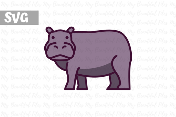 Download Free Hippo Graphic By Mybeautifulfiles Creative Fabrica for Cricut Explore, Silhouette and other cutting machines.
