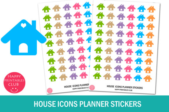 Print on Demand: House Icons Planner Stickers - House Icon Graphic Crafts By Happy Printables Club