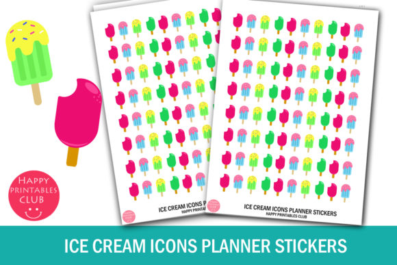 Print on Demand: Ice Cream Icons Planner Stickers Graphic Crafts By Happy Printables Club