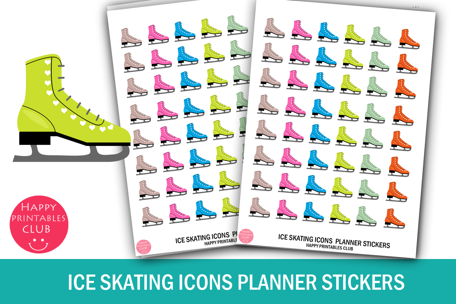 Download Free Ice Skating Icons Planner Stickers Graphic By Happy Printables for Cricut Explore, Silhouette and other cutting machines.