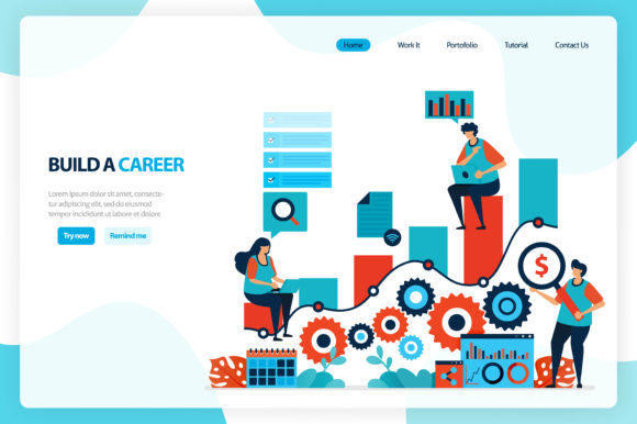 Illustration for Chart in Career Goals Graphic Landing Page Templates By setiawanarief111