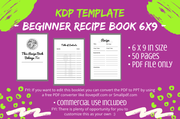 Download Free Kdp Interior Beginner Recipe Book Graphic By Tomboy Designs for Cricut Explore, Silhouette and other cutting machines.
