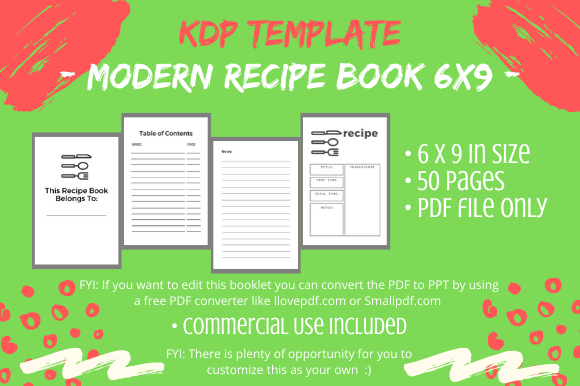Print on Demand: KDP Interior - Modern Recipe Book Graphic KDP Interiors By Tomboy Designs