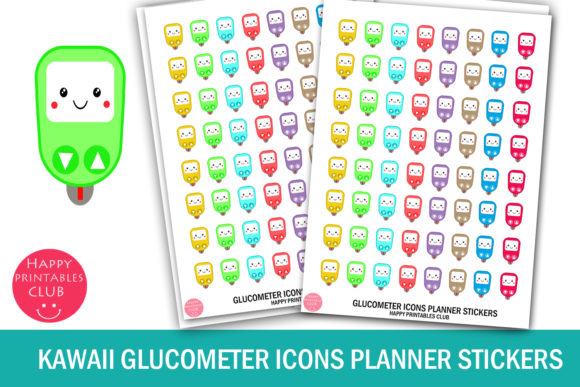 Download Free Kawaii Glucometer Icons Planner Stickers Graphic By Happy for Cricut Explore, Silhouette and other cutting machines.