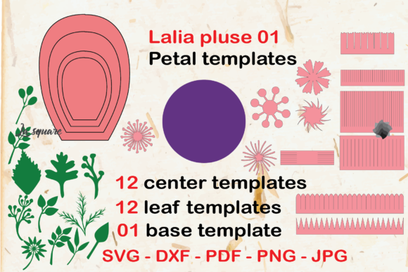 Download Free Lalia Paper Flowers Template Graphic By Lasquare Info for Cricut Explore, Silhouette and other cutting machines.